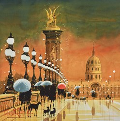 Lights on the Bridge, Paris by Peter J Rodgers - Original Painting on Paper sized 20x19 inches. Available from Whitewall Galleries